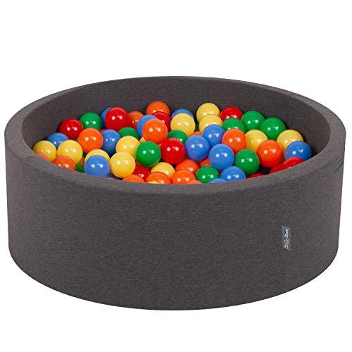 KiddyMoon 90X30cm/300 Bälle ∅ 7Cm Bällebad Baby Spielbad Mit Bunten Bällen Rund Made In EU, Dunkelgrau:Gelb-Grün-Blau-Rot-Orange -