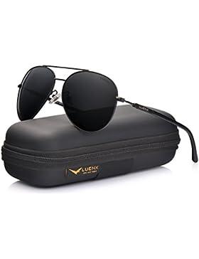 LUENX Hombre gafas de sol Aviador polarizado de conducción con el caso - UV 400 Protección 60mm