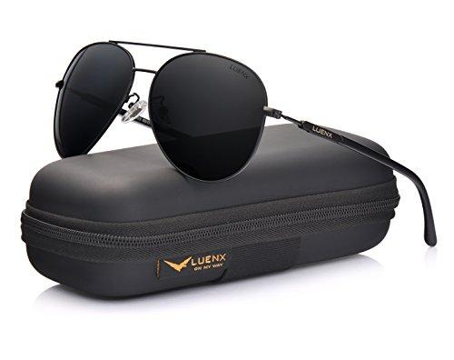 LUENX Hombre gafas de sol Aviador polarizado de conducción con el caso - UV 400 Protección Negro Frame Lente Negro 60mm