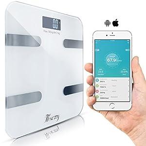 Mormy Digitale Personenwaage Bluetooth 30×30 Cm Bis 180 Kg Weiß Smartphone App Auf Deutsch Berechnet Körperfett Muskelmasse Wasseranteil Bmi