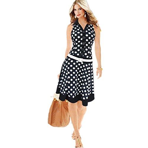 LILICAT Frauen Mode Polka Dots Tupfen Kleid Damen Bekleidung Midi Kleid Vintage Ärmellos V-Ausschnitt Drucken Sommer Chic Kleid Ein Stück Party Kleider Beachwear (M, Schwarz) (Vintage Jeans Flare)