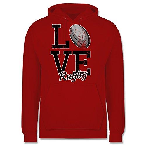 Sonstige Sportarten - Love Rugby - Männer Premium Kapuzenpullover / Hoodie Rot