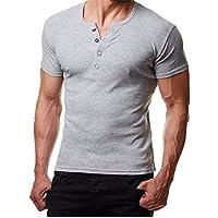 Yvelands Pollover Camiseta de Manga Corta sólida Hombre Casual Camisa de Metal Hermosa Blusa Top Party Beach Work Primavera Otoño Verano, Liquidación!