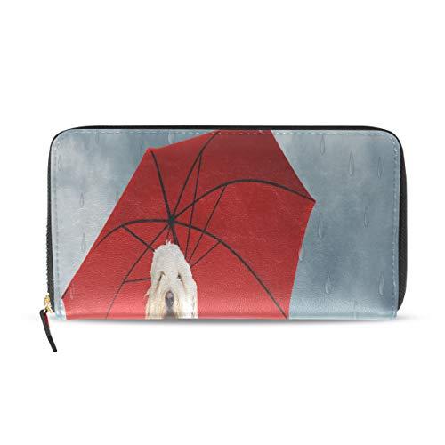Regenschirm Hund Welpe Tier lange Pass Kupplung Geldbörsen Reißverschluss Brieftasche Fall Handtasche Geld Veranstalter Tasche Kreditkarteninhaber für Dame Frauen Mädchen Männer Reisen Geschenk -
