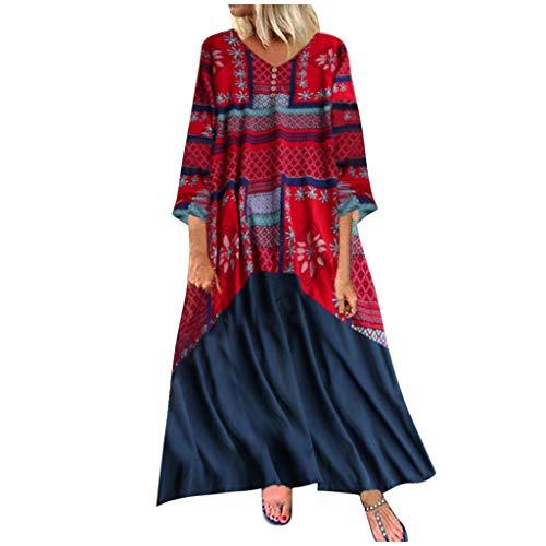 TEBAISE Freizeitkleider Damen Leinenkleider Langarm Kleider Herbstkleider