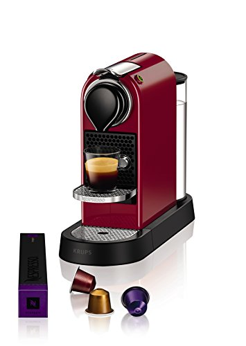 Nespresso Krups Citiz XN7405 - Cafetera monodosis de cápsulas Nespresso, compacta, 19 bares, apagado automático, color granate