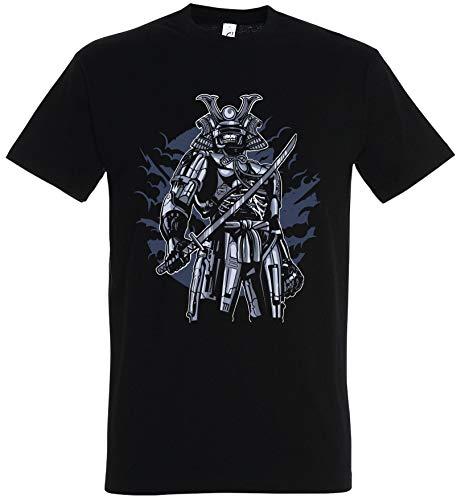 Übergröße Kostüm Samurai Black - T-Shirt Herren/Damen Schwarz mit Samurai Aufdruck (L, Schwarz)
