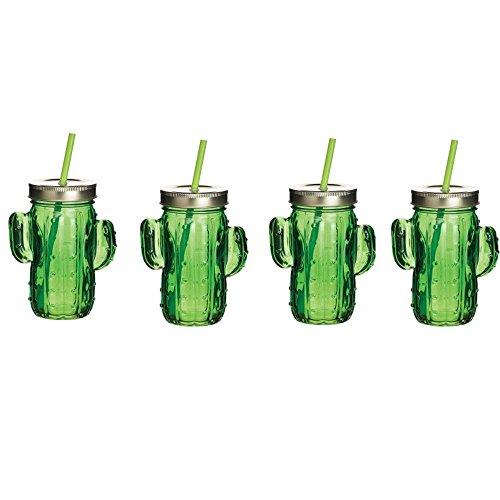Barcraf Verrerie Cactus à boire Bocal Gobelet avec paille Lot de 4 41,4 cl