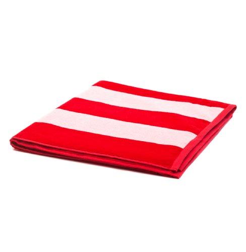 """URBANARA Strandtuch/Duschtuch """"Serena"""" - 100% reine Baumwolle, Frottee-Velour, Weiß/Rot mit breiten Querstreifen - 100 x 180 cm"""