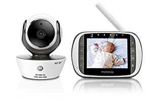 """Motorola, Baby Monitor Digitale Con Display A colori Da 3,5"""" Sul Ricevitore E Videocamera Sul Trasmettitore, Bianco"""