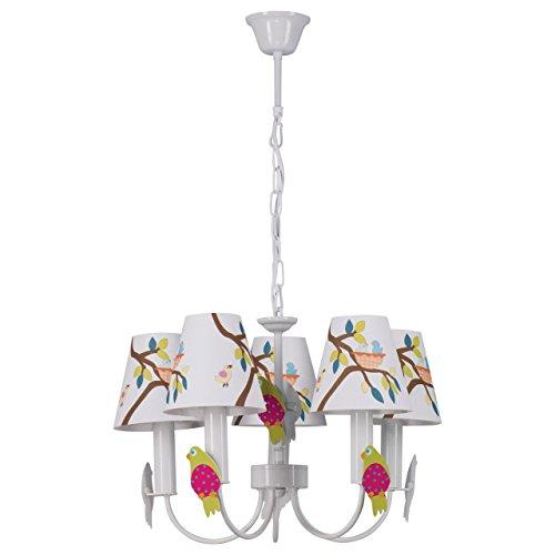 MW-Light Lustre Suspension Enfant à 5 Lampes en Métal Blanc Abat-jours en Tissu avec Dessins Multicolores et Oiseaux pour Chambre d'Enfant Fille Garçon 5 ampx40W E14