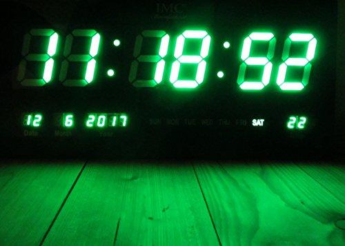 IMC LED - Wanduhr mit Zahlen grün rechteckig digital Uhr Datum Temperatur Multi S -
