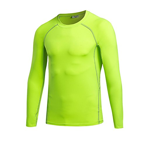 Generic Herren Jungen Compression Gym Bodybuilding Fitness Grundschicht Thermal Unter Top Langarmshirts Skins Gear Cool Dry Tops 6 Farben Green