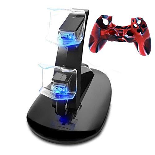 für PS4-Controller, Dual-USB-Ladestation für Ladestation Doppelsitz-Ladegerät mit Griffhalterung + Griffhülse ()