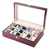 LRRJJ Uhr Brillen Vitrine, Sonnenbrillen Organizer Brillen Lagerung Display Massivholz Eyewear Case Sammlerbox Mit Glasdeckel,A