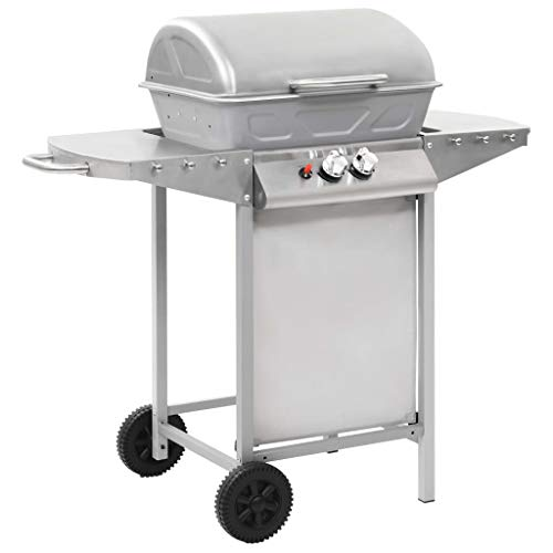 vidaXL Gas BBQ Grill with 2 Cooking Zones Silver Stainless Steel Barbecue