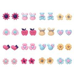 Idea Regalo - 16 paia di orecchini in resina per animali in fiore carino per ragazze (Set di orecchini a 16 borchie stile)