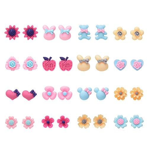 Onnea 16 Ohrstecker Damen Ohrringe Earrings in einem Set Blume Tier Resin Weihnachtsgeschenk (16 paar ohrstecker set)
