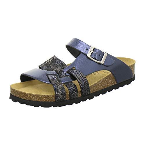 AFS-Schuhe 2122 Damen Pantoletten aus echtem Leder, hochwertige Hausschuhe für Frauen mit Eva-Sohle, Made in Germany Größe 41 EU Blau (Ocean/Multi)