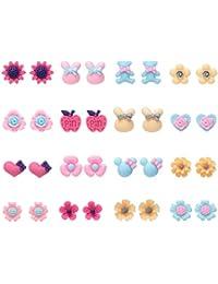 Onnea Lot de Boucles D'oreilles pour Enfant Fille Fleur Animaux Coeur Licorne