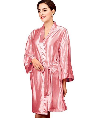 SaiDeng Donna Casual Traspirante Vestaglie Scollo A V Kimono Da Notte In Raso Pink