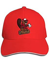Moda Personalizada Unisex-Adulto Carpintería Castor Hip Hop Gorras Sombrero Rojo Talla única