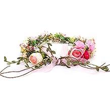 OKBO Mujer/Niña Diadema Corona Flores para Cabello Garland Halo Accesorios Artificiales de Seda de hilo de Decoradas con Flores,Festivales de boda Fiesta en la playa Adultos o Niños Rosa Rosado Rojo
