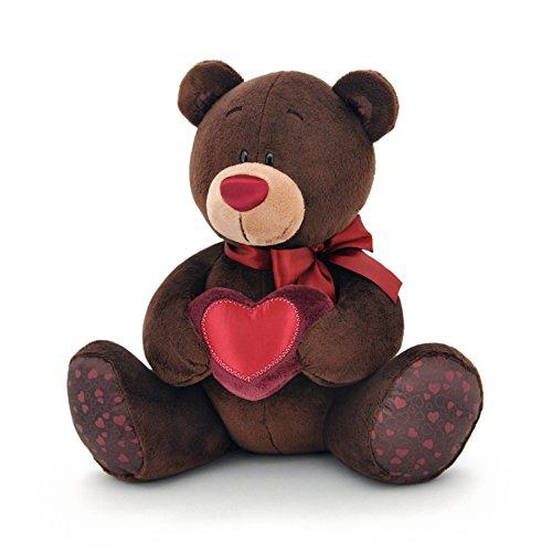 Arancione Toys 1/003/15-Orsetto Choco con cuore, Peluche per adulti e bambini in confezione regalo, 15cm, colore: marrone/rosso