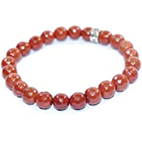 Bracelet - Bracelet Red Jasper Diamond Cut 8 MM + 1 Point Pendant Birthstone Handmade Healing Power Crystal Beads preisvergleich bei billige-tabletten.eu