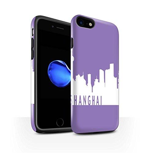 STUFF4 Glanz Harten Stoßfest Hülle / Case für Apple iPhone 8 / Pack 5pcs / Stadt Skyline Kollektion Shanghai/Lila