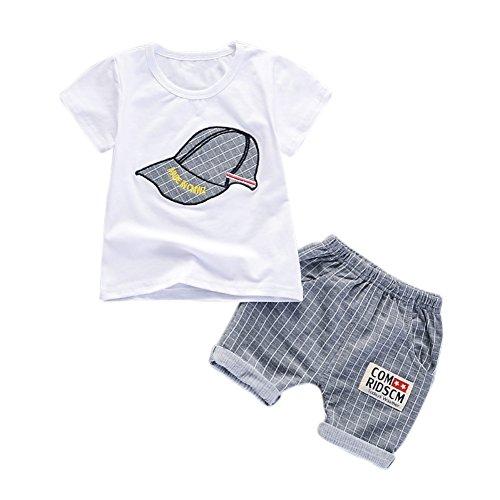 Blaward Baby Jungen Outfits Sommer Kleidung Sets Cap Druck T-Shirt und Short Plaid Hosen 0-4Jahre (Baby-jungen 1 Jahr-outfit)