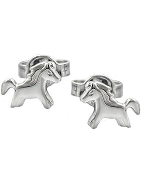 Unbespielt Ohrstecker Pferd glänzend für Kinder 925 Silber 8 x 6 mm inklusive Schmuckbox Ohrschmuck Ohrringe