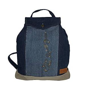 Grosser Denim Rucksack mit Laptopfach Damen Rucksackhandtasche mit Überschlag Tagesrucksack Blau Beige Jeansstoff Tasche mit Stickerei Große Retro Vintage Shopper Jeanstasche