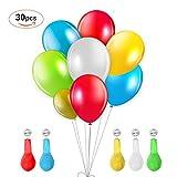 Vsllcau LED Luftballon 30 Stück leuchtende Ballons mit 5 Farbige Licht Bunt schöne Ballons für Weihnachten Party Geburtstag Fasching Valentinstag