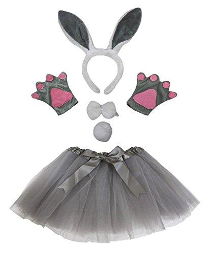 Petitebelle Stirnband Bowtie Schwanz Handschuhe Tutu 5pc Mädchen-Kostüm Einheitsgröße Graues Häschen