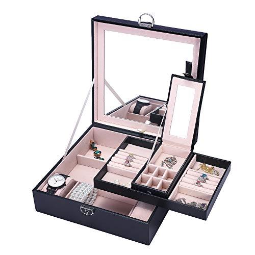 Meshela Schmuckkästchen Schmuckkoffer Kosmetikkoffer, Kunstleder und weiches Innenfutter mit Innenspiegel, Abschließbar