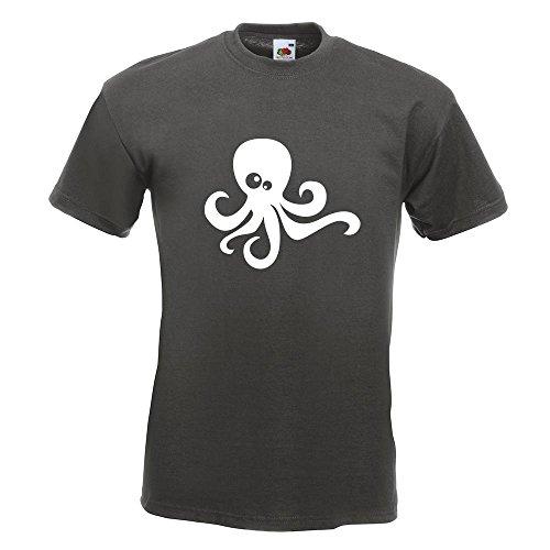 KIWISTAR - Oktopus Comic T-Shirt in 15 verschiedenen Farben - Herren Funshirt bedruckt Design Sprüche Spruch Motive Oberteil Baumwolle Print Größe S M L XL XXL Graphit