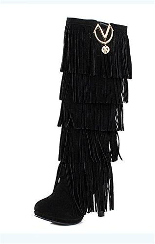 YE Damen High Heels Plateau Wildleder KnieHoch Stiefel mit Fransen Bequeme Blockabsatz 10cm Fashion Elegant Herbst Winterschuhe Schwarz