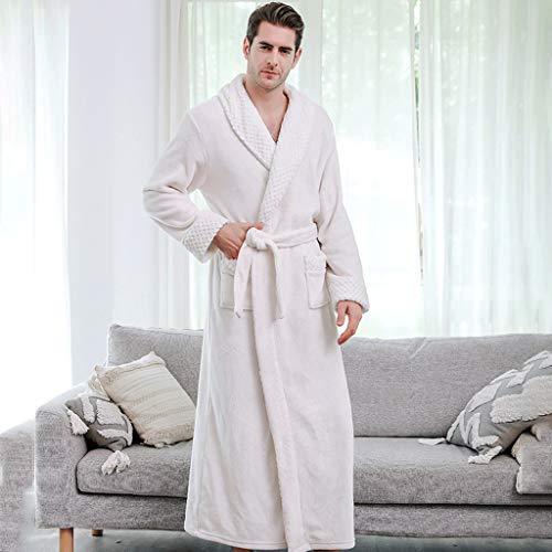 LIUY Luxuriöse Männer Bademantel, Schal Langarm Leichte Kragen Coral Fleece Super Soft Bequeme, warme Bademäntel for Männer oder Jungen (Color : White)
