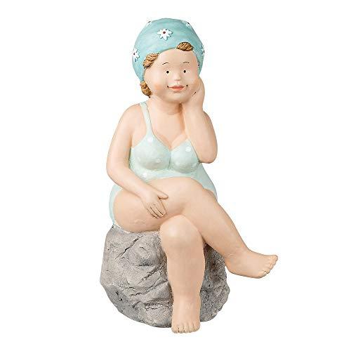 Formano Deko-Figur Badenixe, sitzend, Höhe: 38 cm, Frau im Badeanzug sitzend aus Magnesia, Türkis-Grau, 1 Stück