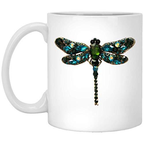 Jewel Dragonfly 11 oz. White Mug -