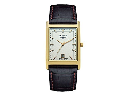 ELYSEE Men's Square Black Leather Band Steel Case Sapphire Crystal Quartz Silver-Tone Dial Watch 83812L