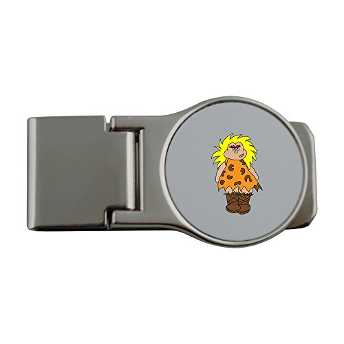 Metal money clip with cavewoman