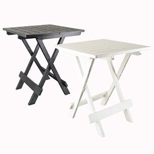 DRULINE klappbarer Campingtisch Beistelltisch aus Kunststoff (Schwarz) 43 cm x 45 cm x 50 cm - Bambus Set Klapptisch