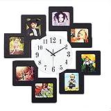 XGLL Holz Bilderrahmen Wanduhr Moderne Dekoration Leise Elektronische Uhr Quarzuhr, Kann 8 Fotos, Schwarz