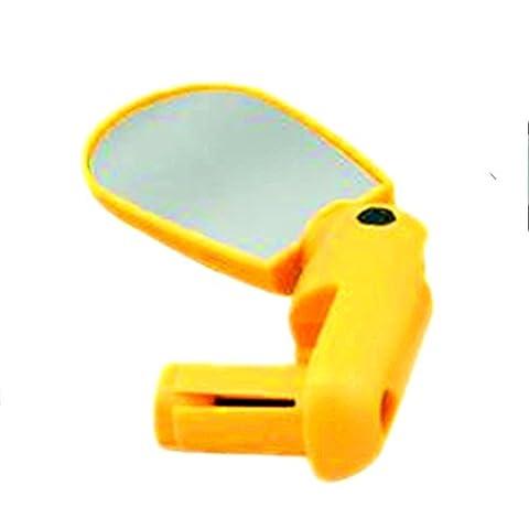 Lugii Cube Vélo Rétroviseur de vélo Bar End Dos Miroir universel réglable Rotation de 360degrés Avion Miroir rétroviseur rond Clip de miroir de vélo pour vélo de Rode, jaune