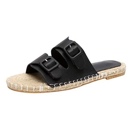 EUCoo_shoes Sommer Hausschuhe Damen Freizeit Größe Outdoor-Mode ethnischen Stil Hanfseil gewebt flachem Boden Strandschuhe(Schwarz, 37) Gala-peep-toe-pump