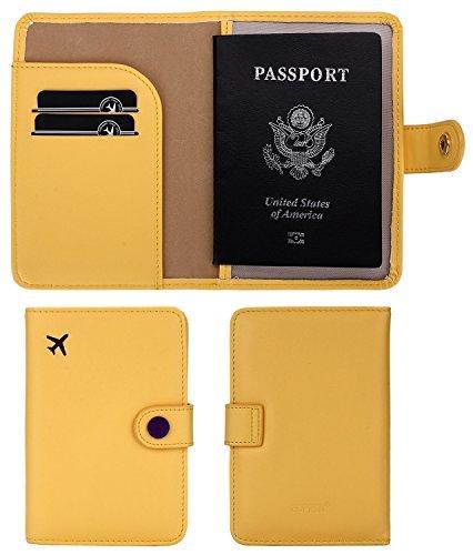 Zoppen RFID bloqueo de viaje pasaporte tarjeta de identificación Holder, funda de viaje, amarillo mostaza