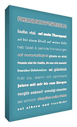 Little Helper FRDR128-07G Wandschmuck aus starker Leinwand im modernen typographischen Stil Freundschaftsregeln, 21 - 30.5 cm, petrol