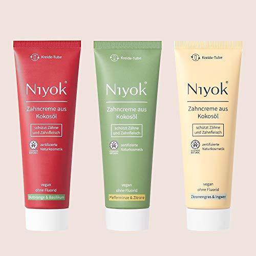 Niyok Naturkosmetik: Natürliche Zahncreme aus Bio-Kokosöl I OHNE Fluorid und Aluminium I für empfindliche Zähne | VEGAN | 3 x 75ml I nachhaltige Kreide-Tube